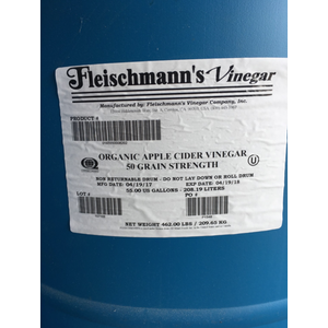 Organic Apple Cider Vinegar, 55 Gal Drum